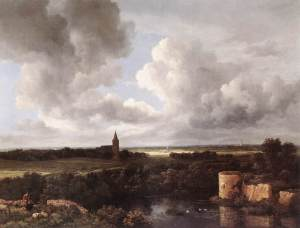 An extensive landscape with a ruined castle and a village church | Jacob van Ruisdael | 1665