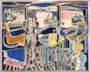 Harbor window with two figures, St Ives: July 1950 | Patrick Heron | 1950