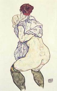 Woman undressing | Egon Schiele | 1917