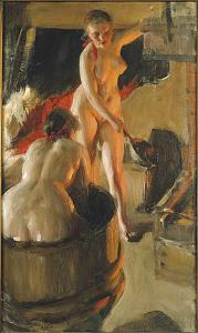 Girls from Dalarna having a bath | Anders Zorn | 1906