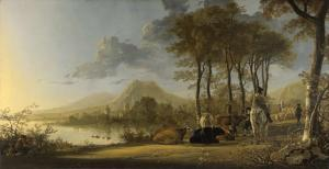 River landscape with horsemen and peasants | Aelbert Cuyp | 1660