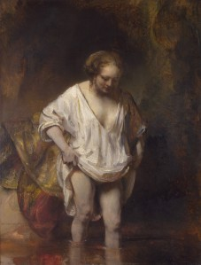 Woman bathing in a stream | Rembrandt | 1654