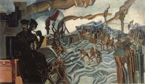 A battery shelled | Wyndham Lewis | 1919