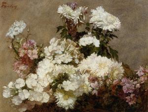 White phlox, summer chrysanthemum and larkspur | Henri Fantin-Latour | 1865