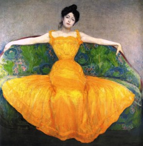 Woman in a yellow dress | Max Kurzweil | 1899