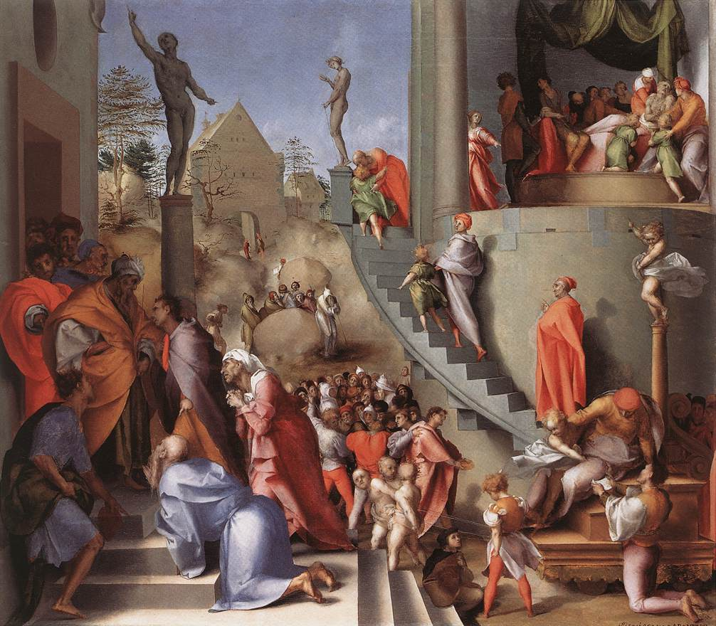 joseph with jacob in egypt pontormo 1518 silver and
