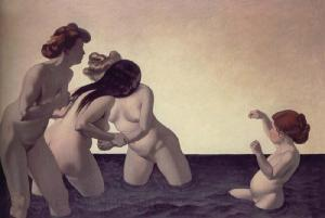 Three women and a young girl playing in the water | Félix Edouard Vallotton | 1907