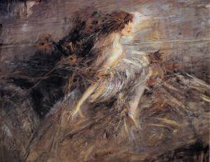 Portrait of the Marchesa Casati with peacock pens | Giovanni Boldini | 1914