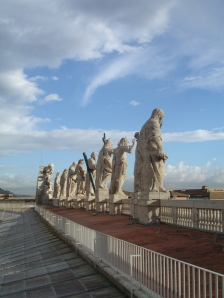 View behind the statues of saints by Bernini from St Peter's Basilica's coupula | Rome