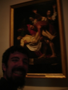 "Painting published in the blog. Me posing with ""The entombent of Christ"" by Caravaggio 