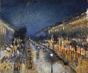 Boulevard Montmartre at night | Camille Pissarro | 1897
