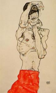 Standing male nude with a red loincloth | Egon Schiele | 1914