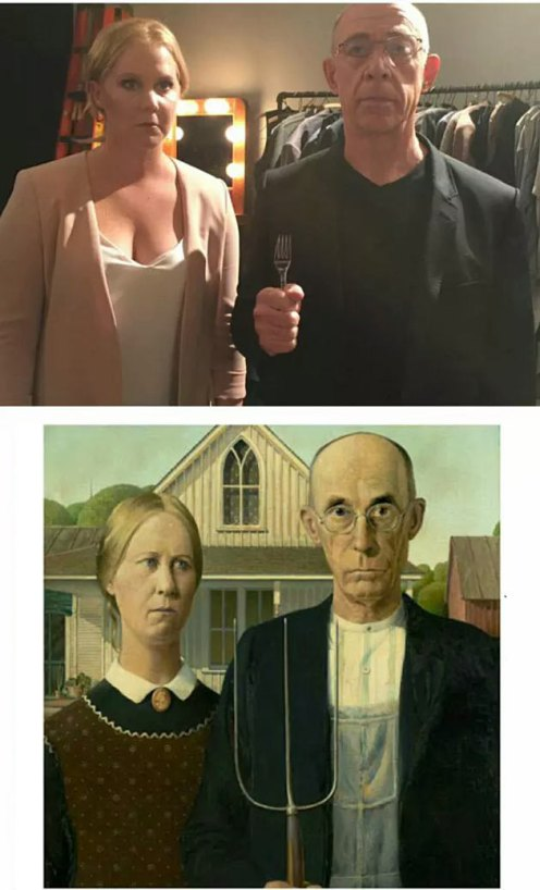 American Gothic | Grant Wood - Amy Schumer and JK Simmons